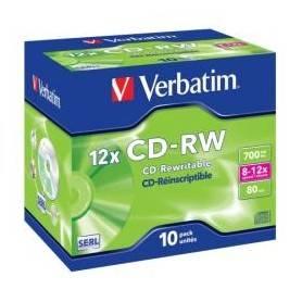 """CD-Rw """"Riscrivibile"""" Verbatim 0,700 GB Custodia Slin 10 Pezzi"""