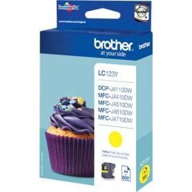 ORIGINAL Brother Cartuccia Inkjet LC123Y / Brother LC-123Y 600 Pagine