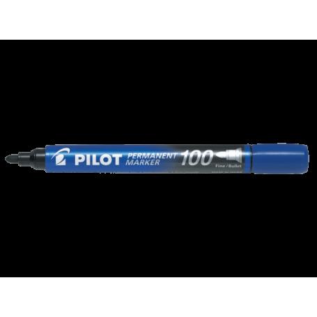 Pilot Permanent Marker 100 Blu Punta tonda fine